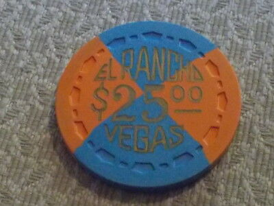 EL RANCHO VEGAS CASINO $25 casino gaming CHIP FROM EARLY DAYS OF VEGAS