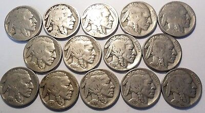 Lot of 14 Buffalo Nickels 1920 25 28 29 30 30s 34d 35 35s 36pds 37pd