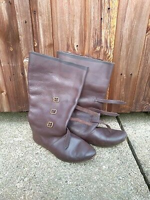 Brown Leather Late-Medieval Boots - Size 42
