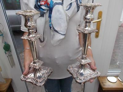 Pair Viners Silver Plate On Copper Candlesticks Removable Sconces