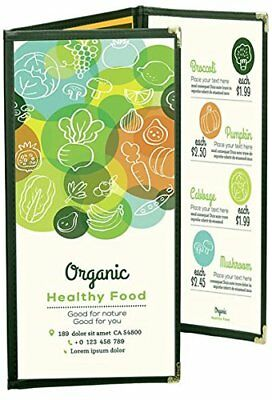 """MENU COVERS GREEN TRIPLE PANEL FOLDOUT - 6-VIEW - 5.5"""" x 8.5"""" DOUBLE-STITCHED"""