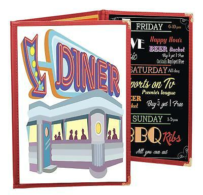 "MENU COVERS RED TRIPLE PANEL FOLDOUT - 6-VIEW - 8.25"" x 14"" DOUBLE-STITCHED"