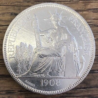 1908-A French Indo-China TRADE DOLLAR Piastre AU DETAILS Estate Collection Find