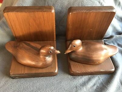 EDGECOMB WOOD CARVER (2) Duck Bookends N. Edgecomb ME. USA