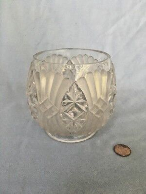 Vintage Pressed Frosted Glass Bowl Candy Dish Votive Candle Holder Heavy