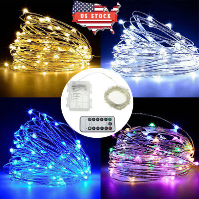 US LED Copper Wire String Light Waterproof IR Remote Control Fairy Lights Lamp