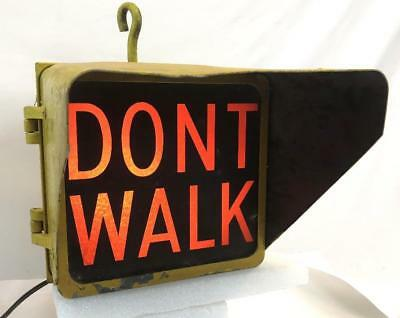 "Vintage 15"" Yellow Econolite 1 Bay Lighted DONT WALK Street Light Sign WORKS"