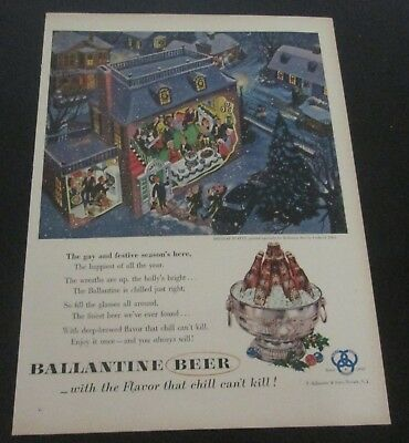 1953 original ad Ballantine Beer People Attending Christmas Party
