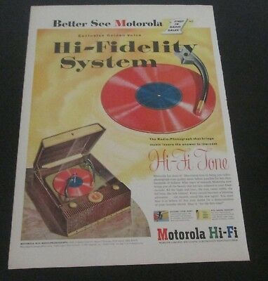 1953 original ad Motorola Hi-Fi Radio Record Player art of Red Vinyl Record