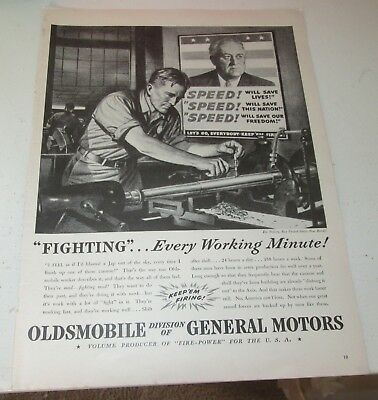 1942 original ad Oldsmobile Man Building Cannon for Military & Roosevelt Poster