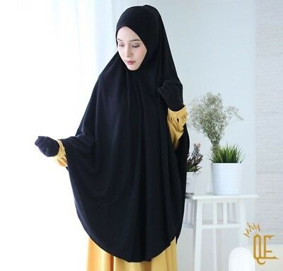 Black Eisyah 4XL Khimar Instant Hijab Long Amira One Piece Slip On Scarf Jilbab
