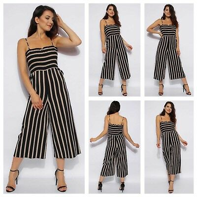 Womens Ladies Adjustable Strap Shearing Top Palazzo Style Cami Culotte Jumpsuit