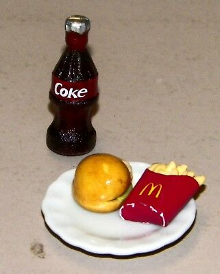Dollhouse Miniatures, Hamburger & McDonalds Fries on White Round Plate, & Coke