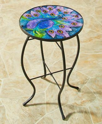 Pretty Peacock Side Table Glass Metal Yard Porch Home Decor LS 285172011