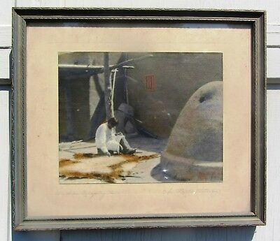 Antique Native American Pueblo Indian Hand Colored Framed Photograph New Mexico