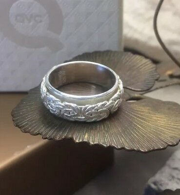 Beautiful Sterling silver QVC Byzantine spinner ring NEW w/box size 8