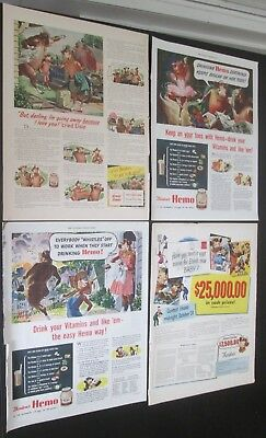 Lot of 7 original ads 1943 to 1947 Borden's Dairy Products Elmer Elsie & Kids