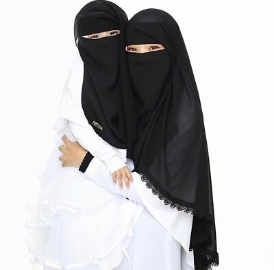 Mother Daughter Niqab Set Face Cover Purdah Niqaab Burqa Hijab Islam Muslim