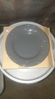 """Longaberger Pottery 7.25"""" Round Bread Plate Pewter gray NEW in box"""