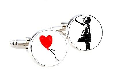 BANKSY CUFFLINKS Pair Shirt Girl Balloon Novelty Glass Men's Art Graffiti Gift