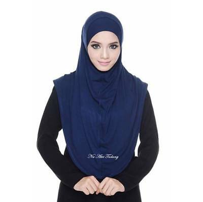 Navy Blue Syari Plain Instant Hijab Set One Piece Slip On Khimar Amira Scarf