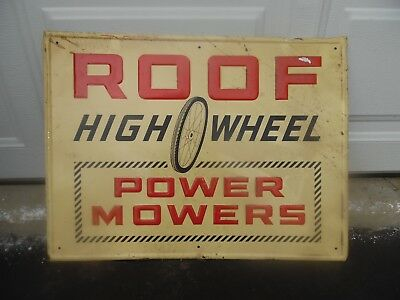 Rare Vintage 1950's ROOF HIGH WHEEL POWER MOWERS GAS AND OIL Embossed Metal Sign