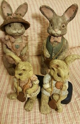 """4 Sarah's Attic Easter Bunny Rabbit Figurines numbered limited edition lg9"""" sm6"""""""