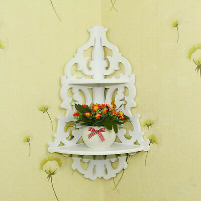 Floral White Wooden Wall Corner Rack Storage Shelf Organizer Home Vintage Decor