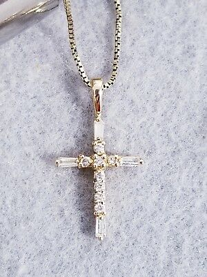 Vintage 925 Sterling Silver Pronged CZ Christian Cross Pendant with Box Necklace