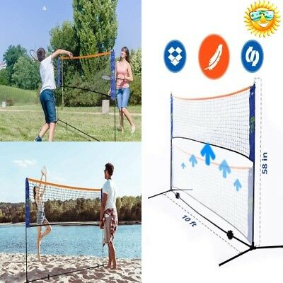 Volleyball Net Set Outdoor With Poles Portable 10 x5 Ft High Adjustable Height