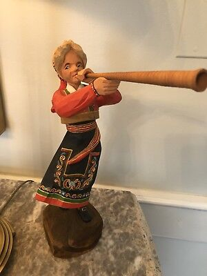 """Large Henning Handcarved Norway 13.5"""" PRILLAR-GURI With Horn"""