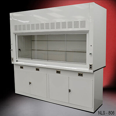 NEW white 8' Chemical Laboratory Fume Hood WITH GENERAL STORAGE CABINETS ..
