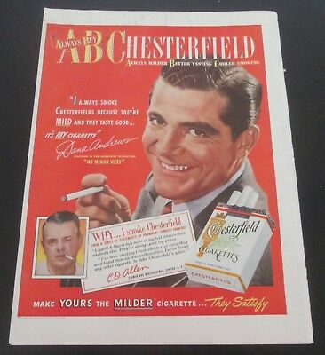 1949 original ad Chesterfield Cigarettes Actor Robert Cummings