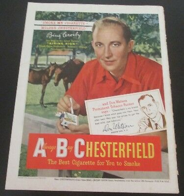 1949 original ad Chesterfield Cigarettes Actor Singer Bing Crosby