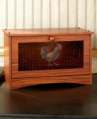 Rooster Bread Box Holder Rustic Country Kitchen Table Counter Home Decor
