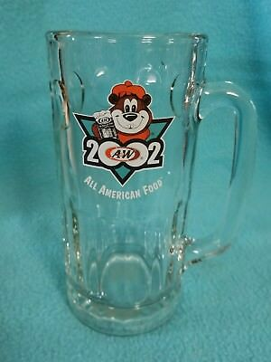 """2002 A&W Root Beer LARGE Mug A&W Heavy Glass Thumbprint 7"""""""
