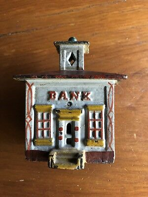 Vintage Cast Iron  Bank Building Bank With Tower