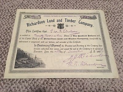 Antique 1916 Stock Certificate W/ Hand Writing - Richardson Land And Timber Co.