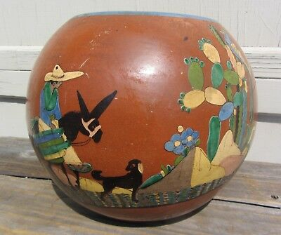Fabulous! Rare Antique Mexican Tlaquepaque Petaltillo Pottery Vase Donkey Dog