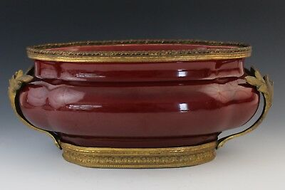 Antique French Sang de Beouf Oxblood Red Glazed Porcelain Bronze Mounted Bowl
