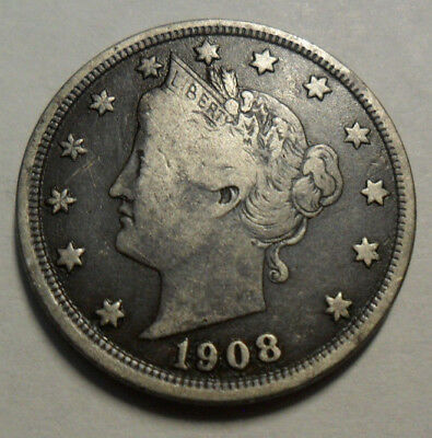 "1908 P Liberty Head ""v"" Nickel  *ag Or Better*  **free Shipping**"