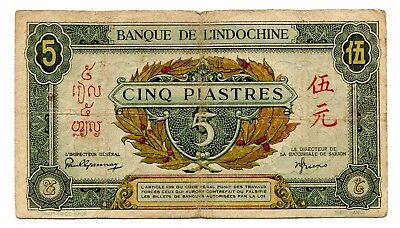 French Indo China 5 Piastres 1942-45 P 61
