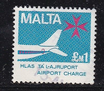 Malta £1 Airport Charge Stamp Stamp VGC