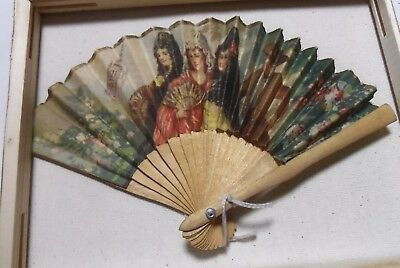 Signed Antique Argentinian LUQUE SEVILLA Hand Painted Linen Fan Beautiful Scene