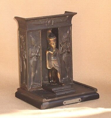 Art Deco Egyptian Revival Brass BOOKEND Pharaoh Thotmose III Signed 898s