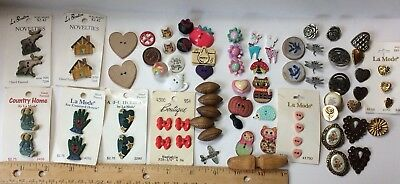 Lot Of 80+ Folk Art Craft Novelty Lodge Wood Metal Animal Sewing Buttons C
