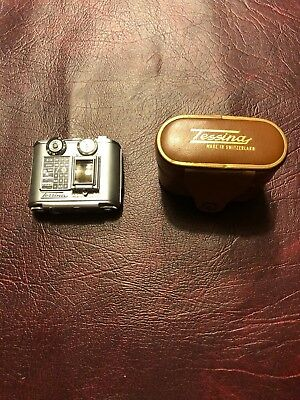 Tessina Subminiature Automatic 35mm Spy Camera w/ case and film holder