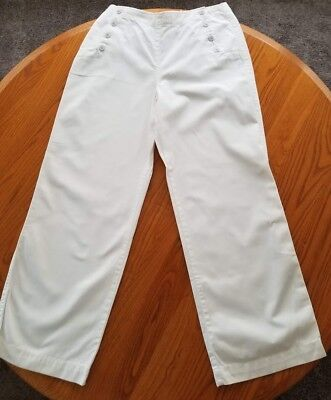J Crew Size 12 White Chino Sailor Pants Wide Legs Button Front Nautical, EUC