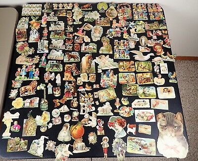 Lot Of Vintage Victorian Die-Cut-Scrapbook Pieces Animals Dogs Children Misc++