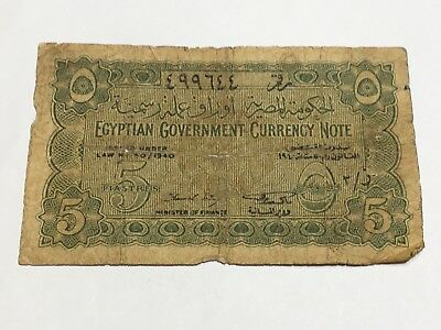 Egypt 5 Piastres 1940 Banknote Rare Red